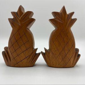 Vintage Wood Pineapple Salt and Pepper Shakers